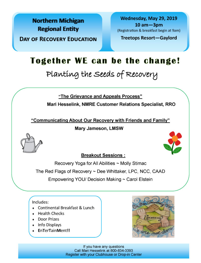 Day of Recovery Education, May 29th